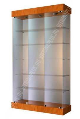Шкаф-витрина стеклянная с подсветкой ВС-120 2 Размер: 2000x1200x400 мм. Цвет: орех