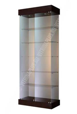 Стеклянная торговая витрина с низким подиумом ВС-80 Размер: 2000x800x400 мм. Цвет: венге