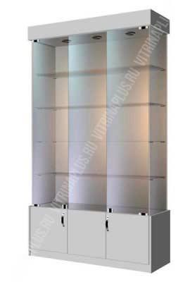 Широкая стеклянная витрина с накопителем  ВСН-120 Размер:2000x1200x400 мм. Цвет: серый