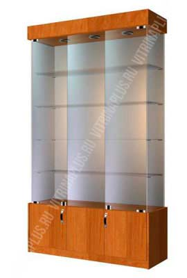 Стеклянная витрина для магазина с накопителем  ВСН-120 Размер:2000x1200x400 мм. Цвет: орех