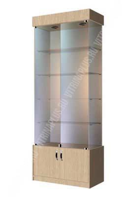 Стеклянная витрина для магазина ВСН-80 Размер: 2000x800x400 мм. Цвет: дуб