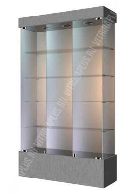 Широкая стеклянная витрина на подиуме ВСП-120 Размер: 1200 мм х 2000 мм х 400 мм Цвет: титан