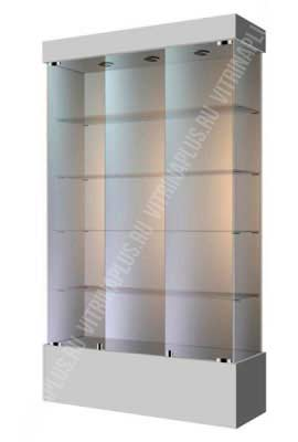 Широкая стеклянная витрина на подиуме ВСП-120 Размер: 1200 мм х 2000 мм х 400 мм Цвет:  серый
