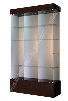 Широкая стеклянная витрина на подиуме ВСП-120 Размер: 1200 мм х 2000 мм х 400 мм Цвет: венге