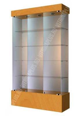 Широкая стеклянная витрина на подиуме ВСП-120 Размер: 1200 мм х 2000 мм х 400 мм Цвет: бук