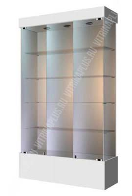 Широкая остекленная шкаф-витрина на подиуме ВСП-120 Размер: 1200 мм х 2000 мм х 400 мм Цвет:  белый