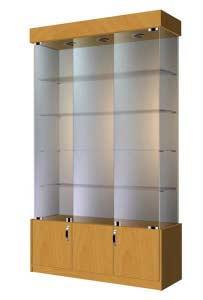 Шкаф витрина стеклянная с отделением для хранения  ВСН-120 Размер:2000x1200x400 мм Цвет: бук