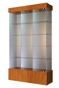Широкая стеклянная витрина на подиуме ВСП-120 Размер: 1200 мм х 2000 мм х 400 мм Цвет: орех